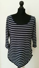 NEW LOOK Womens Cotton Maternity Top Sz 16 44 3/4 Sleeve Scoop Neck Striped Blue