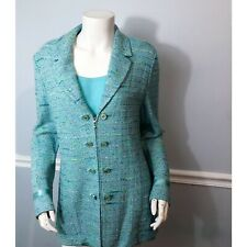 St. John Marie Gray Jacket Top Set 2 PC Green Spring Size 12 M