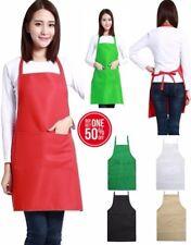 Women Solid Color Cooking Kitchen Apron Bib with Pockets Apron Uniform Lot