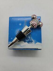 Disney Princess/Minnie Mouse Ears Wine Bottle Stopper/Cork - Pink Rhinestones
