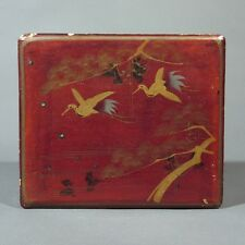 Antique Japanese Lacquered Box, Trees and Birds