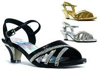 Girls New Stunning Block Heel Party Stone Pin Buckle Fashion Kids Formal Sandal