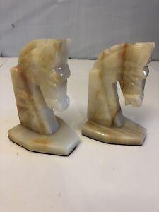 Vintage Art Deco Alabaster Horse Head Book-ends