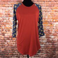 LuLaRoe Women's Randy Red Blue 3/4 Raglan sleeve shirt Size Medium NWT