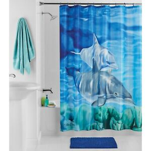 14pc Shower Curtain Set with Bath Rug Double Dolphins by Mainstays