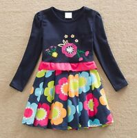 Girls Long Sleeve Party Dress - Age 3 4 5 6 7 8 Yrs New Pink Pretty Kids Clothes