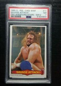 1985 O-PEE-CHEE WWF Series 2 Pro Wrestling Stars #11 Savage Attack! PSA 7 NM