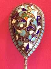 CIRCA 1890'S ORIGINAL SPOON CLOISONNE ENAMEL SILVER 84 RUSSIAN IMPERIAL ANTIQUE