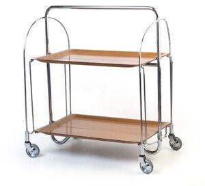 Servier-Tee-Wagen Zeder DINETT Bremshey Bauhaus midcentury 접을 수있는 차 트롤리
