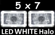 1pr 5x7 6x8 200x142 Semi Sealed H4 Lights Headlights LED Halo Angel Eye White