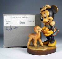 Anri Disney Woodcarvings: Minnie Mouse. Anri item number 1400.