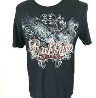 Buffalo David Bitton Men's Naisel Tshirt SZ L Black Graphic Contemporary NWT