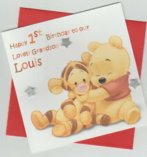 Personalised Handmade Baby Winnie the Pooh & Tigger 1st, 2nd, 3rd Birthday Card