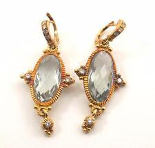 18k Gold Diamond Accent JR Judith Ripka Oval Quartz Long Dangle Earrings