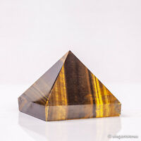 272g 65mm Natural Tiger Eye Quartz Crystal Pyramid Healing Gemstone Chakra Decor