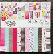 "Simple Stories Love & Adore 12 x 12 Pad*12""x12"" Scrapbook Paper Papercrafts DIY"