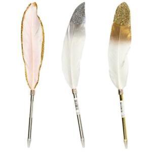 3 X Bling Luxury Glitter Feather Head Ballpoint Pen BDay Wedding Gift Black Ink