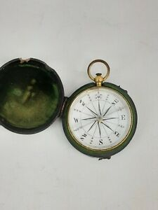 RARE GEORGIAN POCKET COMPASS c1800s With CASE  Nautical Marine