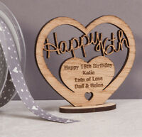 Personalised Wooden Freestanding Heart for Sweet 16th Birthday Gift with Message