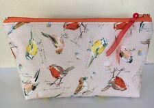 HANDMADE  MAKEOVER ROBINS FABRIC COSMETIC /PENCIL ZIPPER POUCH