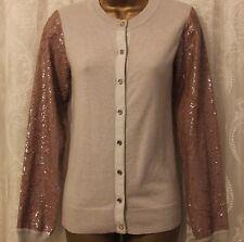 Karen Millen Luxury Sequin Long Sleeve Contrast Cardigan Jumper Top  2 UK 10 38