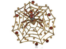 Regal Topaz Brown Crystal Spinning Spider Web Pin Brooch Wedding
