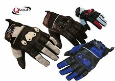 MOTORCYCLE Short Cuff Summer GLOVES Motorbike KNUCKLE Protection Red Black White