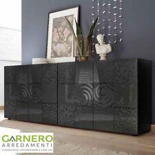 Madia credenza MIRO grigio laccato lucido serigrafato 4 ante design moderno sala
