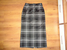 BLANCHELLE BLACK AND WHITE CHECK WOOL MID-CALF PENCIL SKIRT-S,8-UK