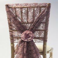 LACE CHAIR COVER HOOD 110CM x 130CM - 12 COLOURS EVENT DECOR WEDDING CHAIRS