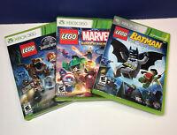 Lot of 3 Lego Games: XBOX 360 (Batman, Marvel Super Heroes & Jurassic World)