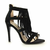 Anne Michelle CARMELLA Ladies Womens Faux Suede Zip Up High Heel Shoes Black