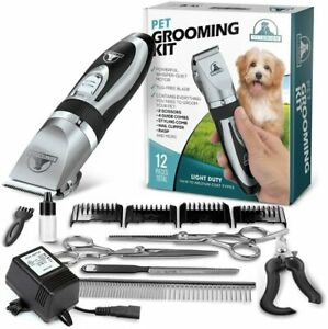 Dog Grooming Kit - Rechargeable, Cordless Pet Clippers & Tool Set. Low Noise.