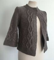 Paraphrase Grey Chunk Cable Knit Knitted Alpaca Wool Cardigan Size S 8-10 BNWT