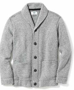 NWT OLD NAVY Boys Size XL (14-16) Heather Gray Button Shawl Collar Sweater NEW