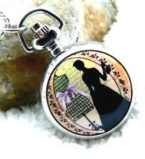 Unusual gift for her Pocket Watch Necklace Flapper Lady Silver Gift for her mum