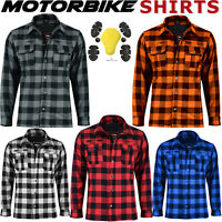 New Motorbike Lumberjack Flannel Shirt Armoured Motorcycle Shirts CE Protection