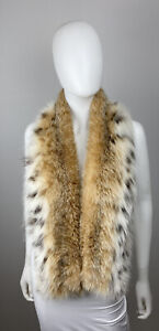 LYNX Rufus Heavily Spotted Real Fur Scarf Wrap Stole Coat Collar Mens or Womens