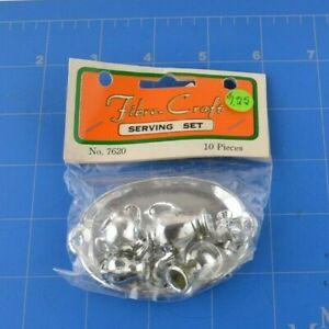 Fibre-Craft Serving Set 720 10 Piece Plate Silver Mini Miniature Dollhouse NOS