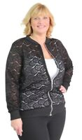 New Ladies Plus Size Floral Lace Effect Lightweight Fashion Bomber Jacket 14-28