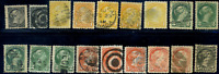 Canada #34/38 used F/XF 1870-1897 Queen Victoria Small Queen cancels & shades