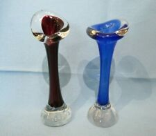 """Vintage Pair of """"Jack in the Pulpit"""" Blue Glass Bubble Base Bud Vases"""