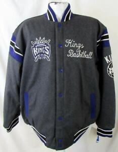 Sacramento Kings Men L - 3XL Snap Up Embroidered Reversible Wool Jacket SAK 15