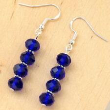 New Dangle Earrings Blue Crystal Sterling Silver Hooks LB1094