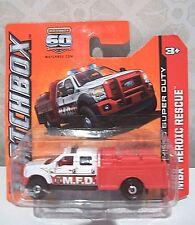 Matchbox COCHE 60TH Aniversario Ford F550 Super Duty 2012 heroica de rescate/fuego Nuevo