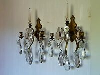 Pair of antique French Candle Wall Sconces Crystal  drop prisms