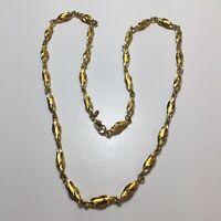 "Vintage Stunning Napier Gold Toned Twist Bead 28"" Necklace [ME38]"
