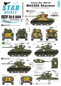 Star Decals 1/35 Korean War 1950-53 M4A3E8 Sherman decal 35C1044 x