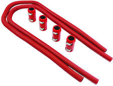 "44"" Red Stainless Flexible Heater Hose Kit W/ Billet Clamp Covers SBC BBC SBF V8"