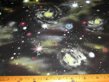1 yard COLORFUL COMETS and STARS on BLACK SKY 100% Cotton Fabric